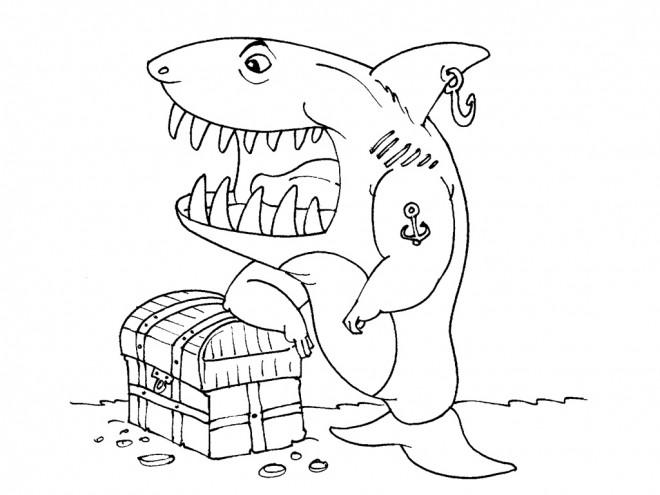 Coloriage requin pirate dessin gratuit imprimer - Coloriage de requin a imprimer ...