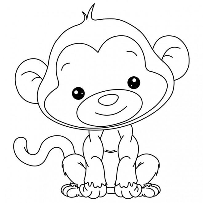 Coloriage beau petit singe dessin gratuit imprimer - Dessin guenon ...