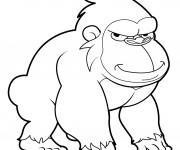 Coloriage Gorille avec le regard bizarre
