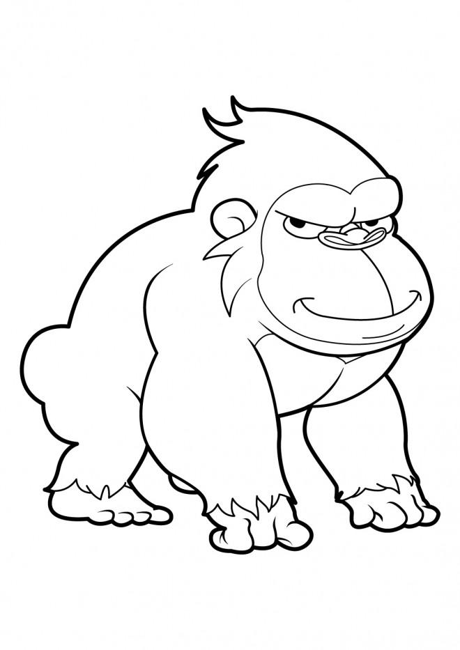 Coloriage gorille avec le regard bizarre dessin gratuit - Gorille coloriage ...