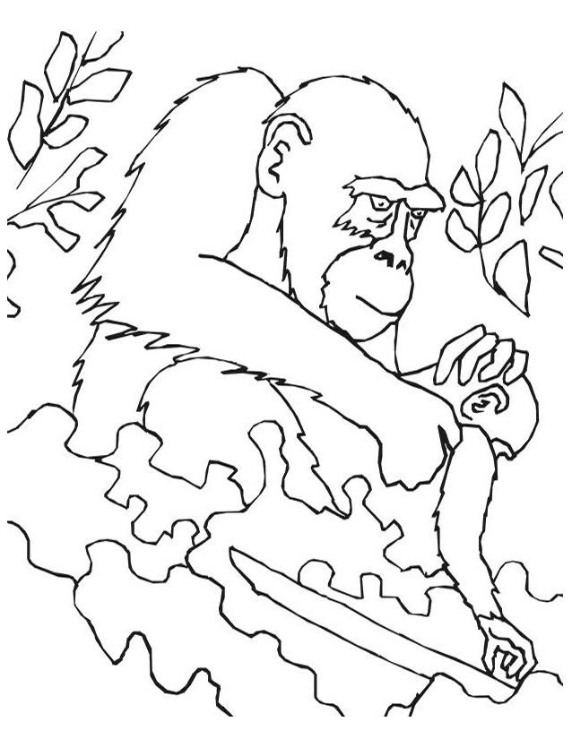 Coloriage et dessins gratuits Gorille et son petit à imprimer