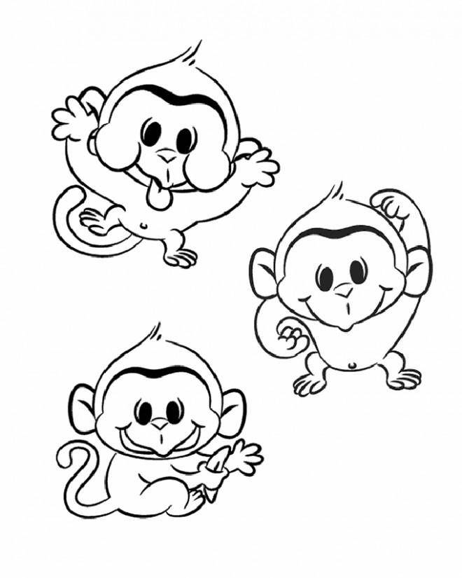 Coloriage et dessins gratuits Les petits singes en jouant à imprimer