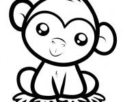 Coloriage et dessins gratuit Petit Singe mignon à imprimer