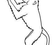 Coloriage Singe levant les mains en haut