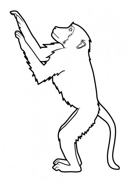 Coloriage et dessins gratuits Singe levant les mains en haut à imprimer