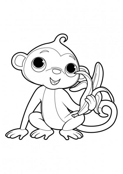 Coloriage singe mignon aime le banane dessin gratuit - Dessin guenon ...