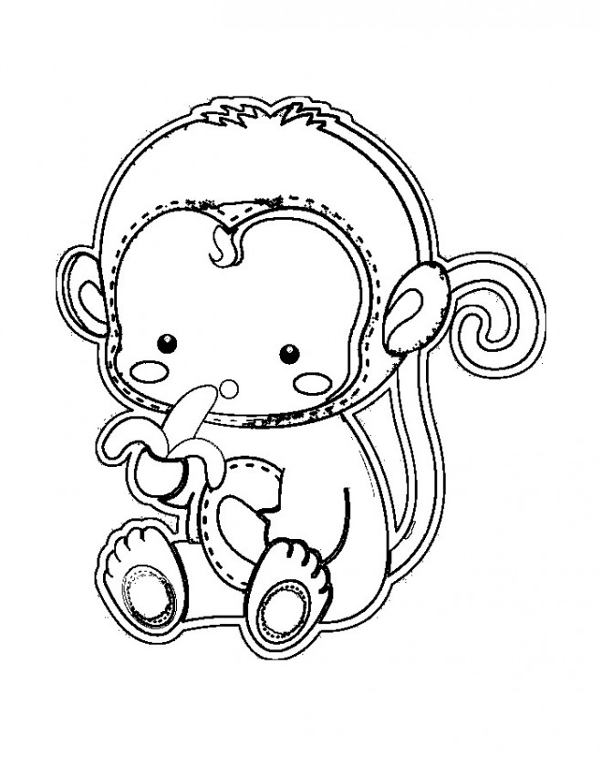 Coloriage et dessins gratuits Singe petit mange du banane à imprimer