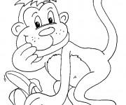 Coloriage Singe porte une banane à ses mains