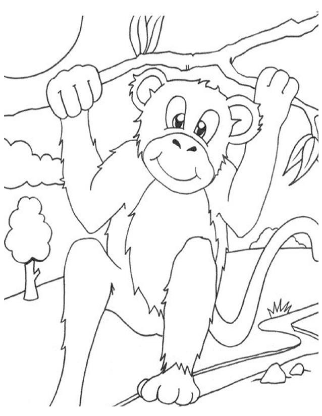 Coloriage et dessins gratuits Singe s'amuse à imprimer