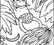 Coloriage Singe vole du banane