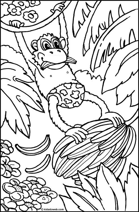 Coloriage et dessins gratuits Singe vole du banane à imprimer