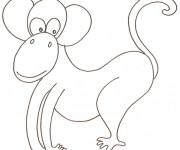 Coloriage Un singe rigolo facilement dessiné
