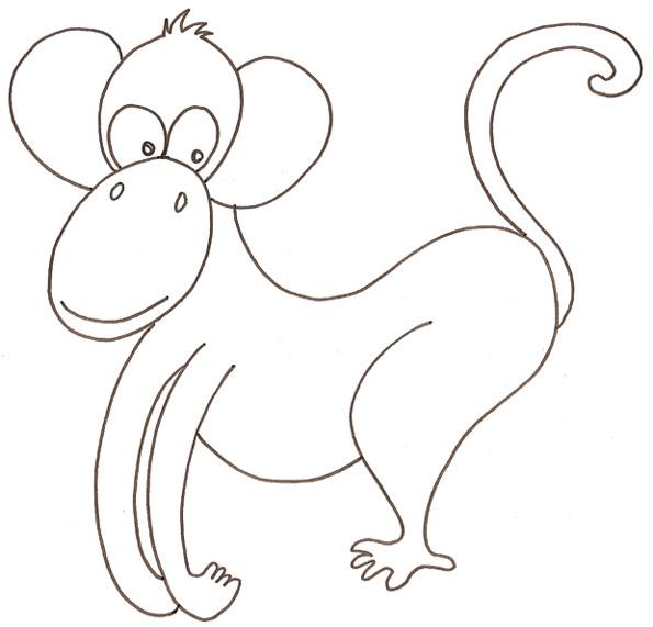 Coloriage et dessins gratuits Un singe rigolo facilement dessiné à imprimer
