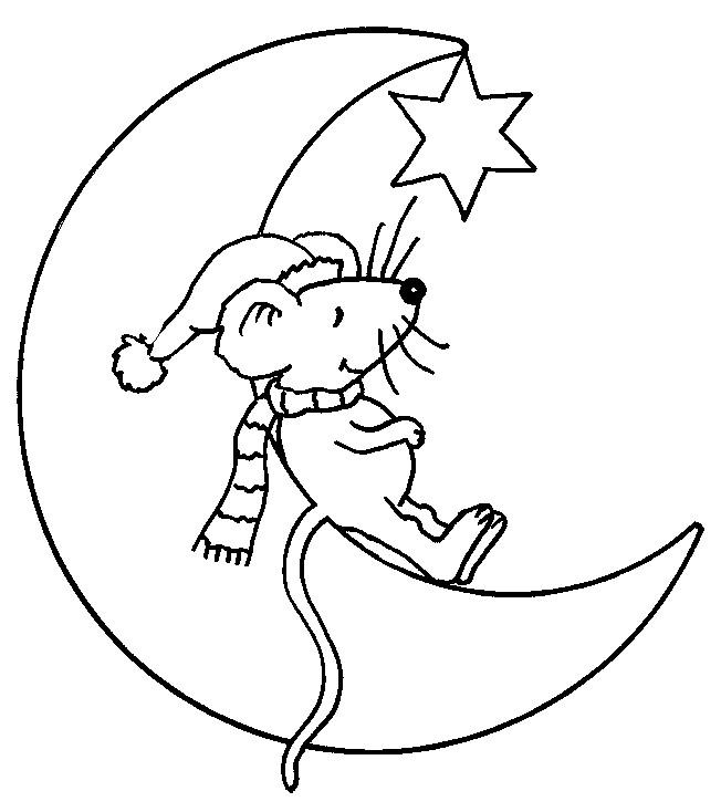Coloriage et dessins gratuits Souris dormante sur la lune à imprimer