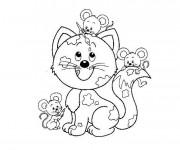 Coloriage Souris et chat
