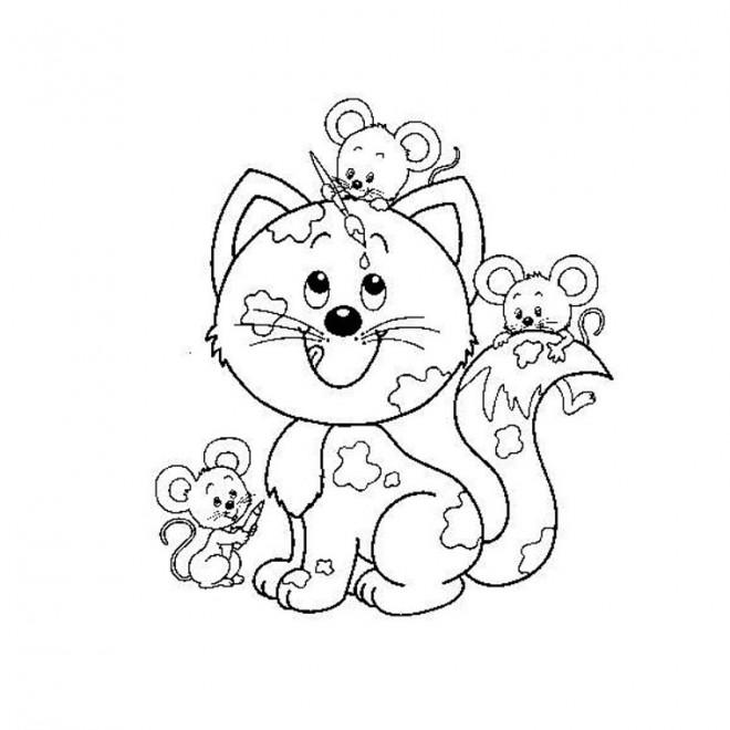 Coloriage souris et chat dessin gratuit imprimer - Chat facile et gratuit ...