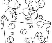Coloriage et dessins gratuit Souris et fromage à imprimer