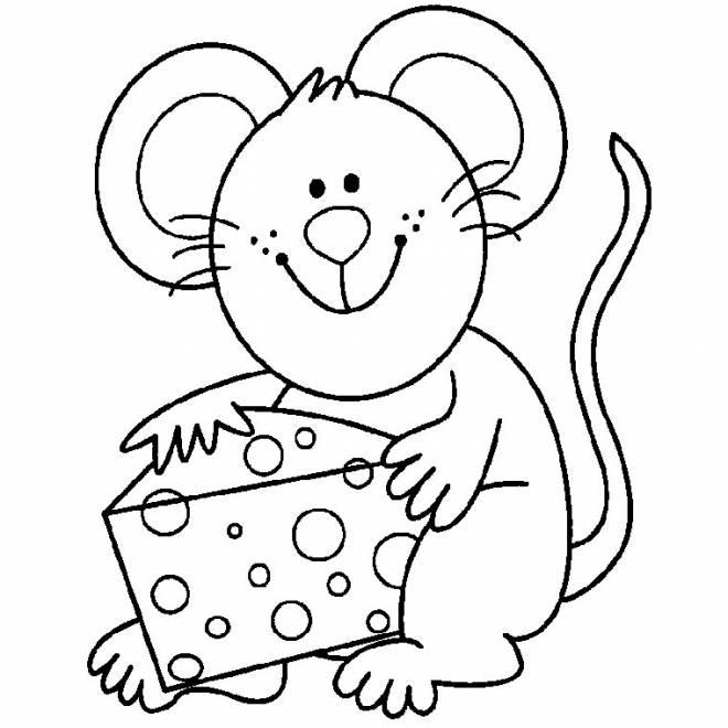 Coloriage et dessins gratuits Souris et son fromage à imprimer