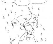 Coloriage et dessins gratuit Souris sous la pluie à imprimer