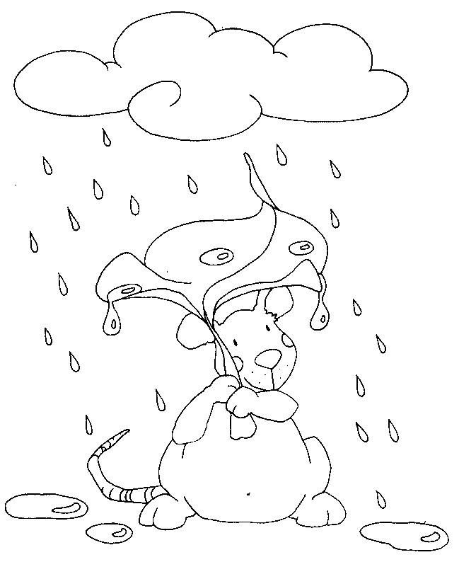 Coloriage et dessins gratuits Souris sous la pluie à imprimer