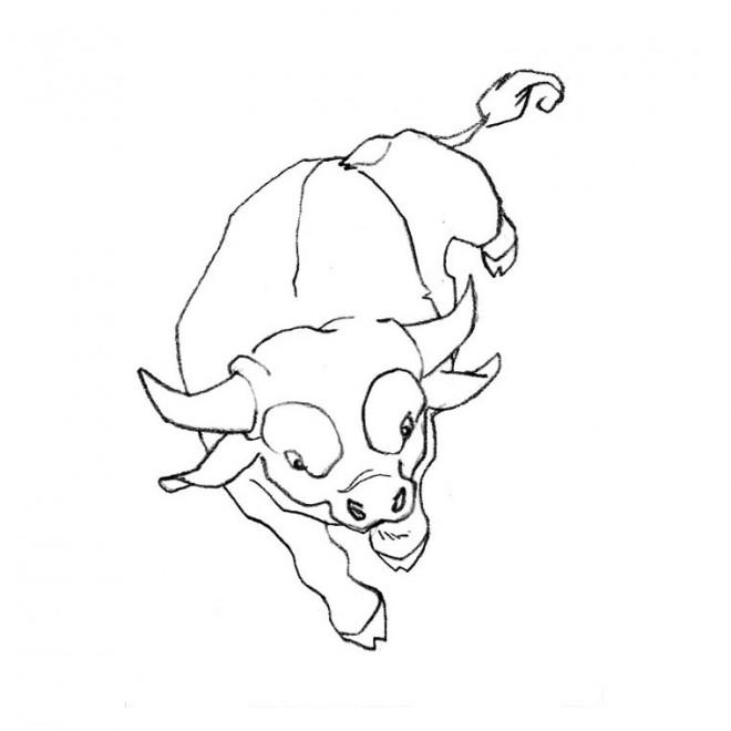 Coloriage taureau au crayon facile dessin gratuit imprimer - Vache dessin facile ...