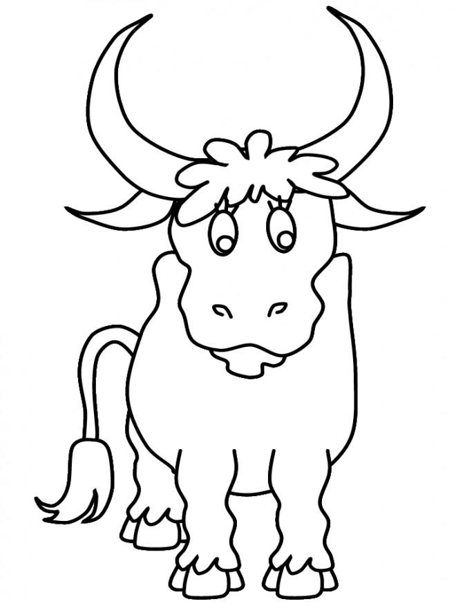 Coloriage taureau pour impression dessin gratuit imprimer - Dessin tete taureau ...