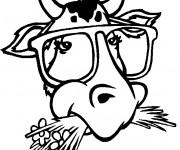 Coloriage Tête de Taureau avec des lunettes drôle