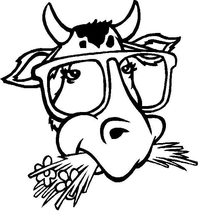 Coloriage t te de taureau avec des lunettes dr le - Dessin tete taureau ...