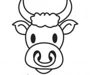 Coloriage Tête de Taureau souriant