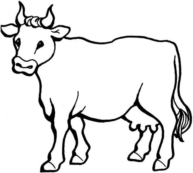 Coloriage vache en ligne dessin gratuit imprimer - Dessin vache facile ...