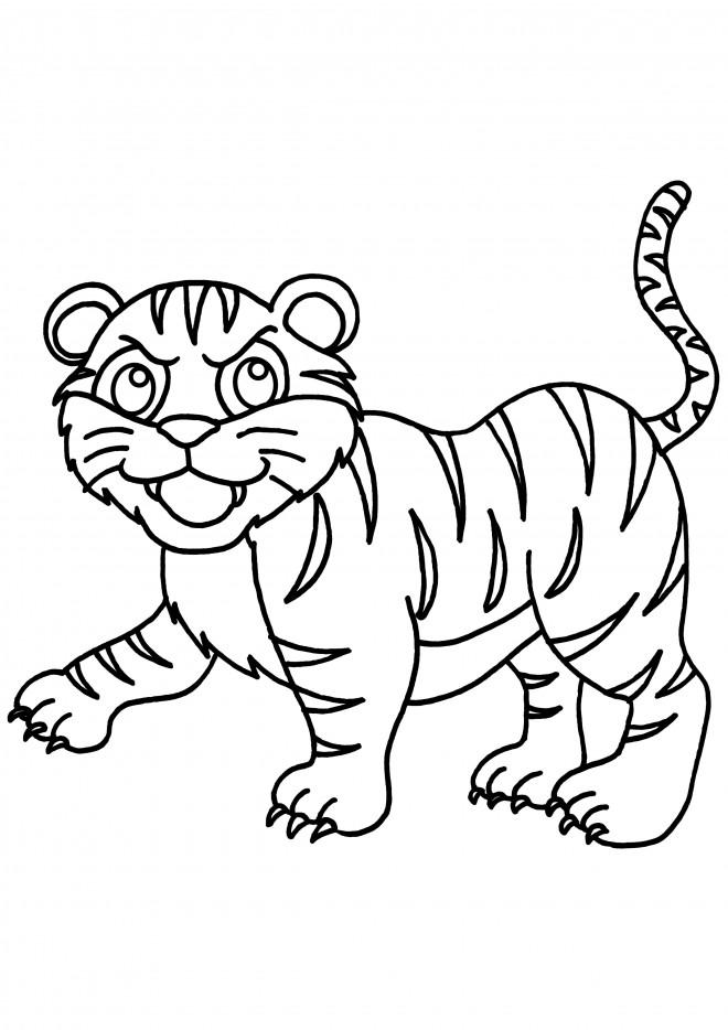 Coloriage et dessins gratuits Petit Tigre en ligne à imprimer
