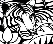 Coloriage Tête de Tigre vectoriel