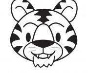 Coloriage Tête Tigre qui sourit