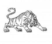 Coloriage et dessins gratuit Tigre en attaquant à imprimer