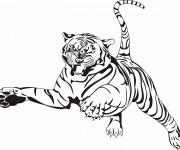 Coloriage et dessins gratuit Tigre en sautant à imprimer