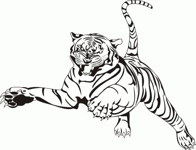 Coloriage et dessins gratuits Tigre en sautant à imprimer