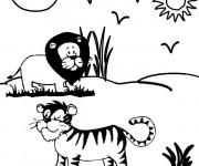 Coloriage Tigre et Lion