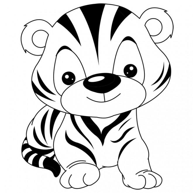 Coloriage Tigre mignon dessin gratuit à imprimer