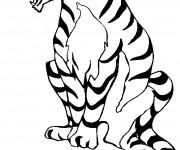 Coloriage Tigre ouvrant sa bouche