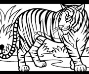 Coloriage et dessins gratuit Tigre prédateur à imprimer