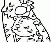 Coloriage Tigre prend son bébé