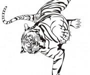 Coloriage Tigre qui fait peur