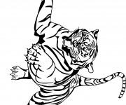 Coloriage Tigre qui saute