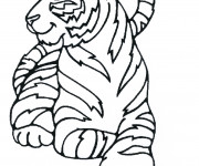 Coloriage Tigre se repose