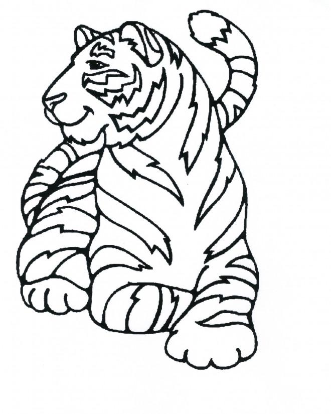 Coloriage et dessins gratuits Tigre se repose à imprimer