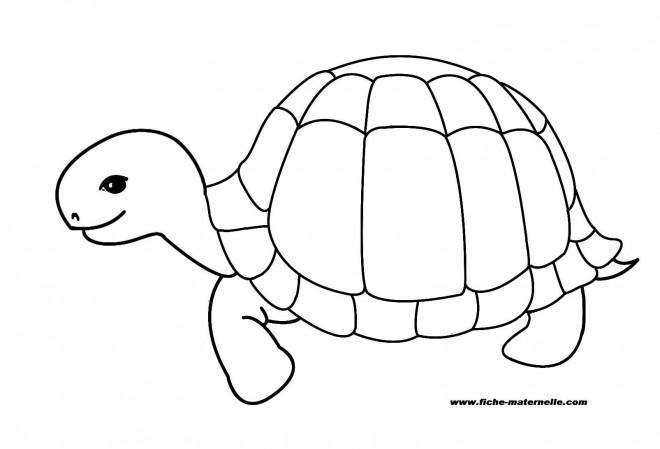 Coloriage et dessins gratuits Tortue heureuse à imprimer