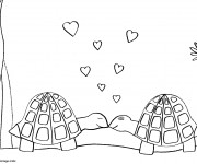 Coloriage Tortues amoureux