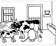 Coloriage La vache et la fermière chatte