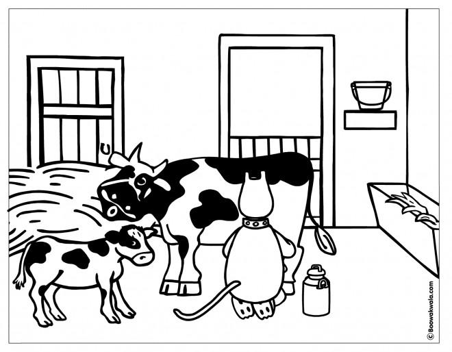 Coloriage et dessins gratuits La vache et la fermière chatte à imprimer