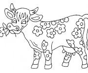 Coloriage et dessins gratuit La vache fleuri à imprimer